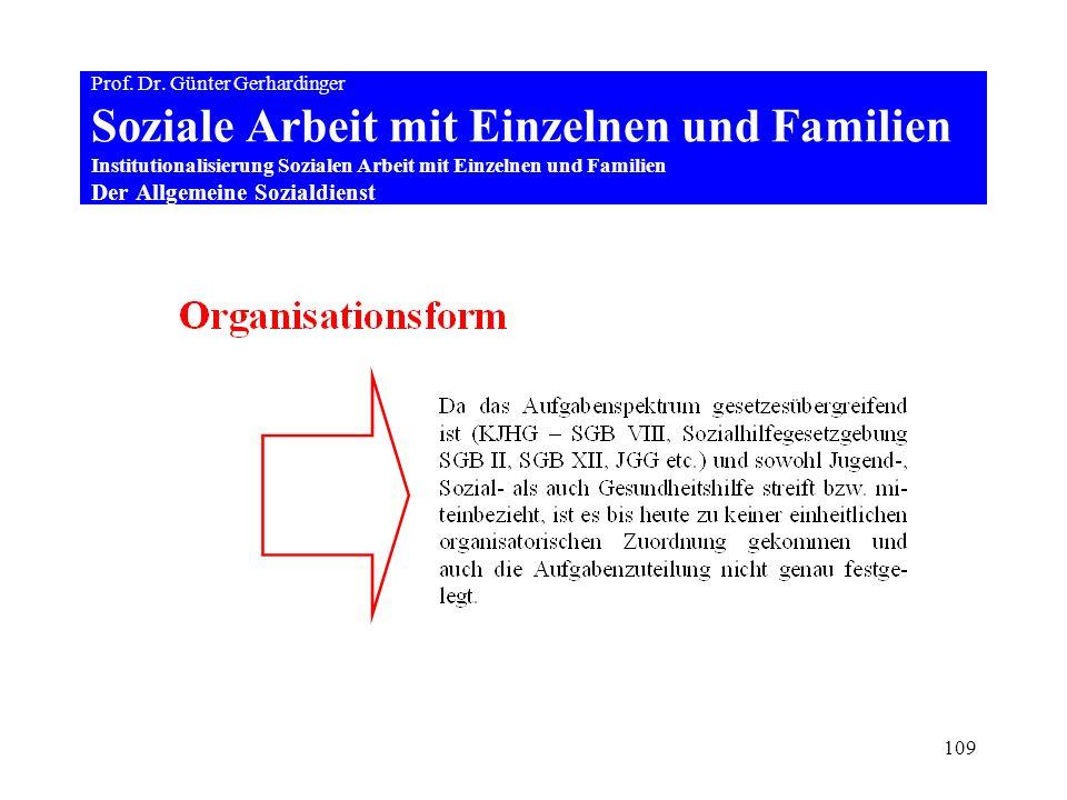 109 Prof. Dr. Günter Gerhardinger Soziale Arbeit mit Einzelnen und Familien Institutionalisierung Sozialen Arbeit mit Einzelnen und Familien Der Allge