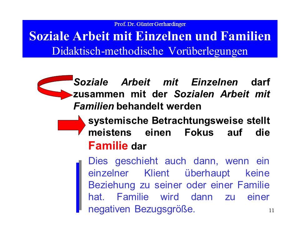11 Prof. Dr. Günter Gerhardinger Soziale Arbeit mit Einzelnen und Familien Didaktisch-methodische Vorüberlegungen