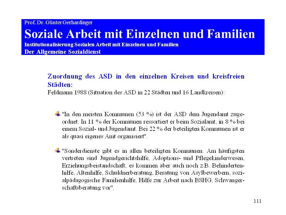 111 Prof. Dr. Günter Gerhardinger Soziale Arbeit mit Einzelnen und Familien Institutionalisierung Sozialen Arbeit mit Einzelnen und Familien Der Allge