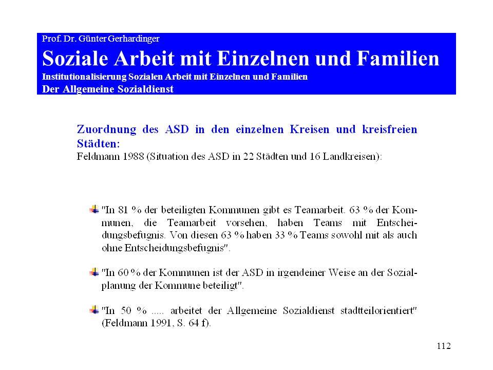 112 Prof. Dr. Günter Gerhardinger Soziale Arbeit mit Einzelnen und Familien Institutionalisierung Sozialen Arbeit mit Einzelnen und Familien Der Allge