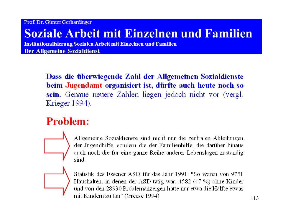 113 Prof. Dr. Günter Gerhardinger Soziale Arbeit mit Einzelnen und Familien Institutionalisierung Sozialen Arbeit mit Einzelnen und Familien Der Allge