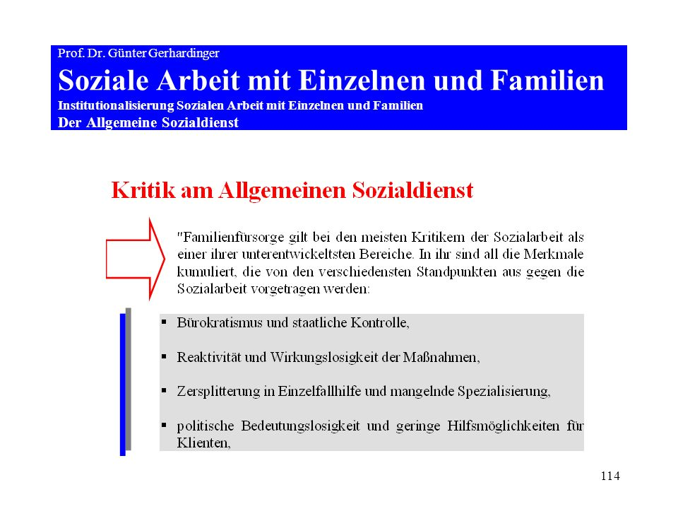 114 Prof. Dr. Günter Gerhardinger Soziale Arbeit mit Einzelnen und Familien Institutionalisierung Sozialen Arbeit mit Einzelnen und Familien Der Allge