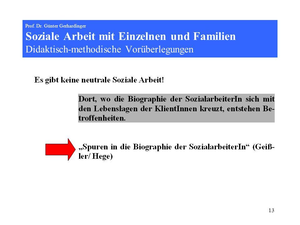 13 Prof. Dr. Günter Gerhardinger Soziale Arbeit mit Einzelnen und Familien Didaktisch-methodische Vorüberlegungen