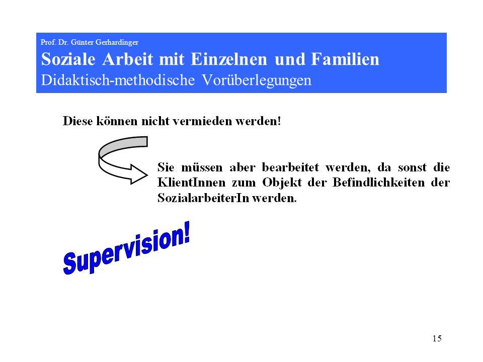 15 Prof. Dr. Günter Gerhardinger Soziale Arbeit mit Einzelnen und Familien Didaktisch-methodische Vorüberlegungen