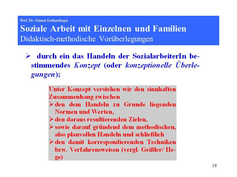 18 Prof. Dr. Günter Gerhardinger Soziale Arbeit mit Einzelnen und Familien Didaktisch-methodische Vorüberlegungen