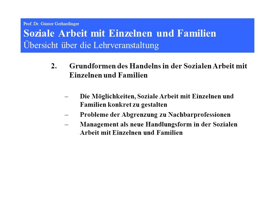 Prof. Dr. Günter Gerhardinger Soziale Arbeit mit Einzelnen und Familien Übersicht über die Lehrveranstaltung 2.Grundformen des Handelns in der Soziale