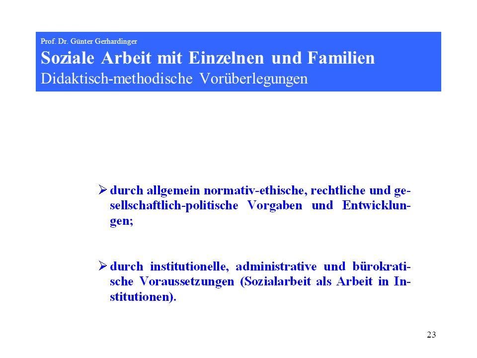 23 Prof. Dr. Günter Gerhardinger Soziale Arbeit mit Einzelnen und Familien Didaktisch-methodische Vorüberlegungen
