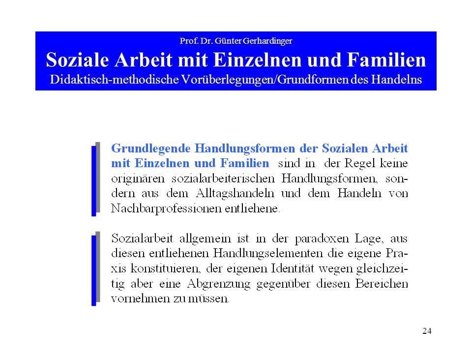 24 Prof. Dr. Günter Gerhardinger Soziale Arbeit mit Einzelnen und Familien Didaktisch-methodische Vorüberlegungen/Grundformen des Handelns