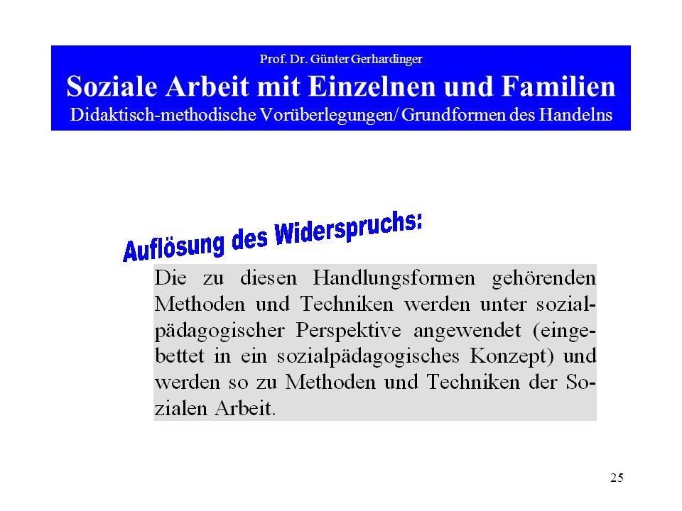 25 Prof. Dr. Günter Gerhardinger Soziale Arbeit mit Einzelnen und Familien Didaktisch-methodische Vorüberlegungen/ Grundformen des Handelns