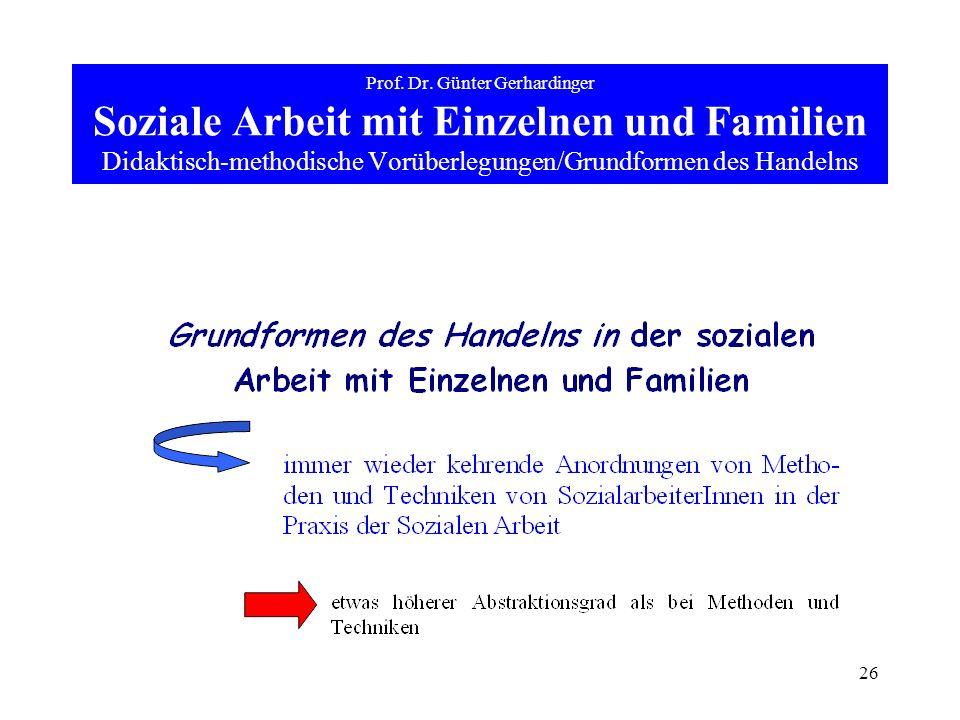 26 Prof. Dr. Günter Gerhardinger Soziale Arbeit mit Einzelnen und Familien Didaktisch-methodische Vorüberlegungen/Grundformen des Handelns