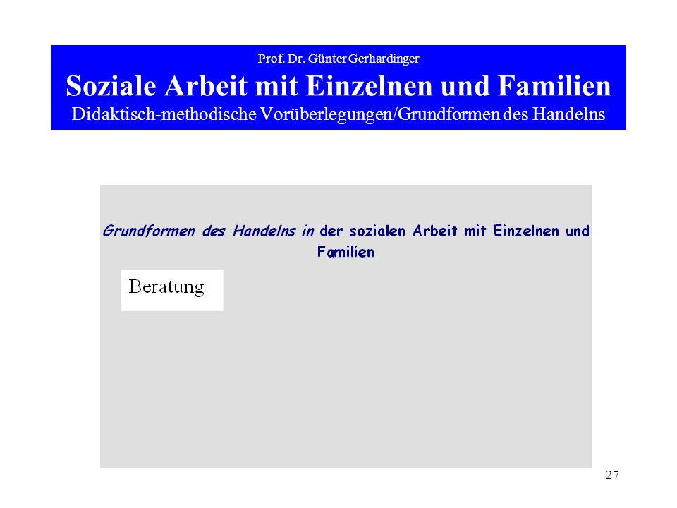 27 Prof. Dr. Günter Gerhardinger Soziale Arbeit mit Einzelnen und Familien Didaktisch-methodische Vorüberlegungen/Grundformen des Handelns