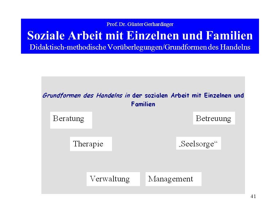 41 Prof. Dr. Günter Gerhardinger Soziale Arbeit mit Einzelnen und Familien Didaktisch-methodische Vorüberlegungen/Grundformen des Handelns