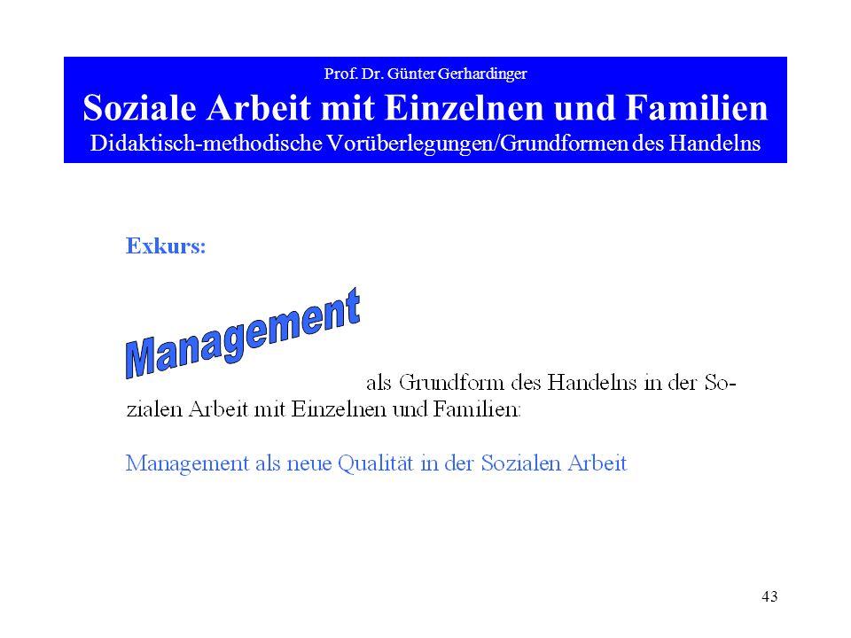 43 Prof. Dr. Günter Gerhardinger Soziale Arbeit mit Einzelnen und Familien Didaktisch-methodische Vorüberlegungen/Grundformen des Handelns
