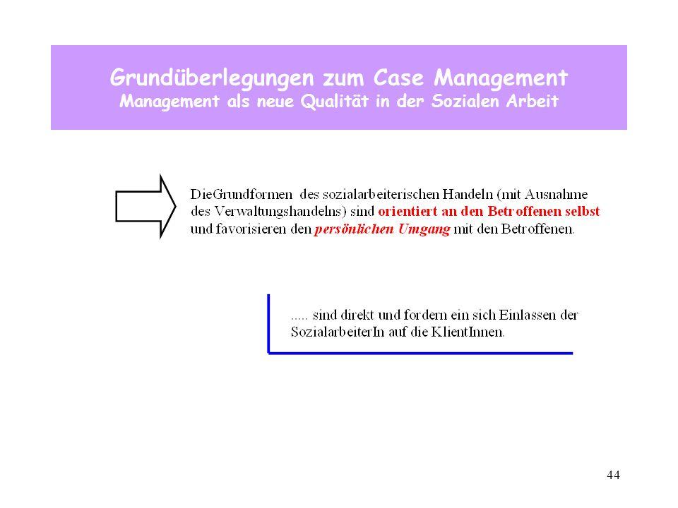 44 Grundüberlegungen zum Case Management Management als neue Qualität in der Sozialen Arbeit
