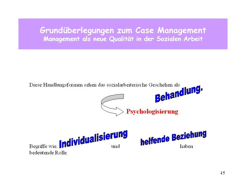 45 Grundüberlegungen zum Case Management Management als neue Qualität in der Sozialen Arbeit