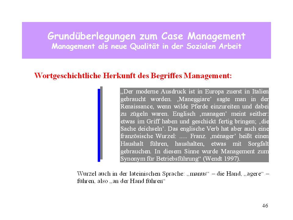 46 Grundüberlegungen zum Case Management Management als neue Qualität in der Sozialen Arbeit