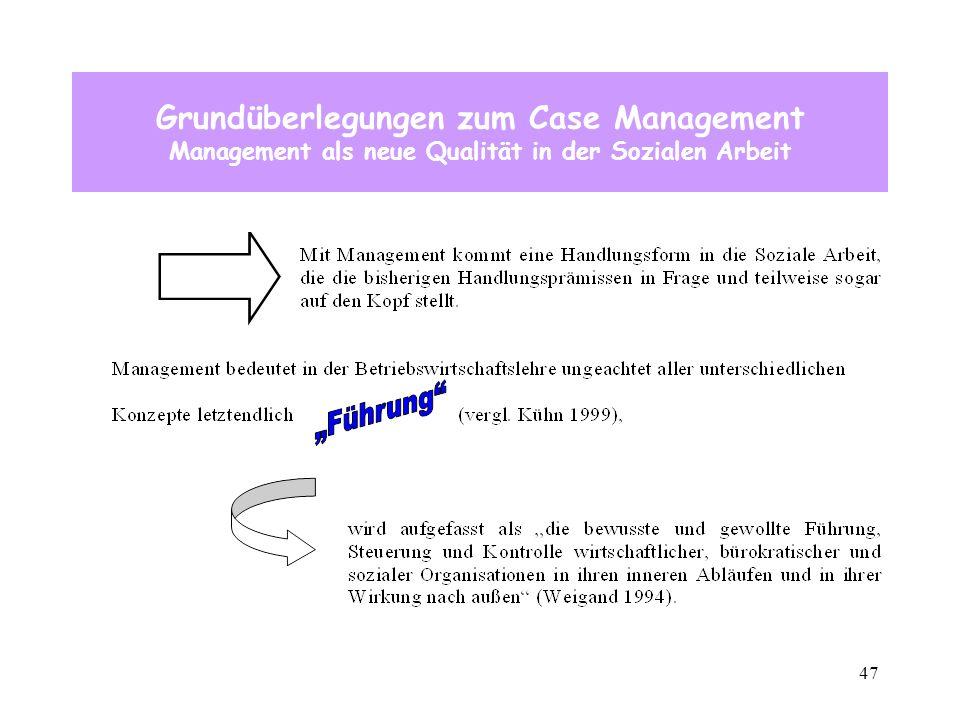 47 Grundüberlegungen zum Case Management Management als neue Qualität in der Sozialen Arbeit