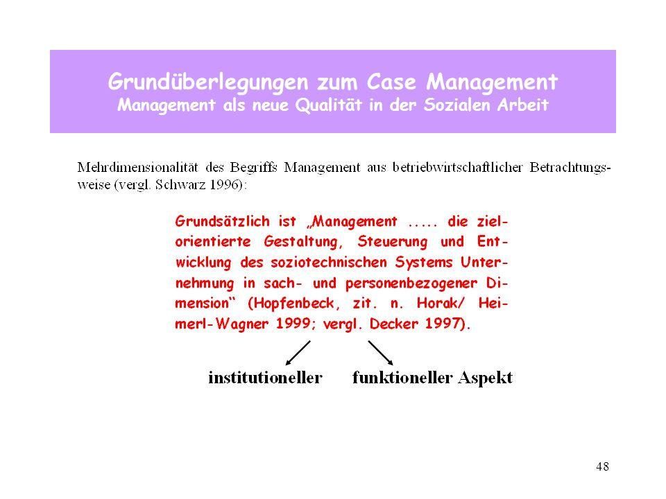 48 Grundüberlegungen zum Case Management Management als neue Qualität in der Sozialen Arbeit