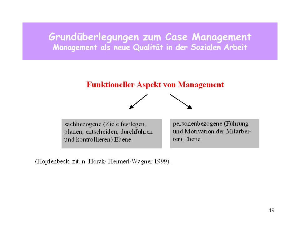 49 Grundüberlegungen zum Case Management Management als neue Qualität in der Sozialen Arbeit