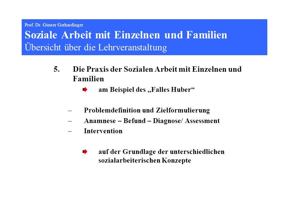Prof. Dr. Günter Gerhardinger Soziale Arbeit mit Einzelnen und Familien Übersicht über die Lehrveranstaltung 5.Die Praxis der Sozialen Arbeit mit Einz