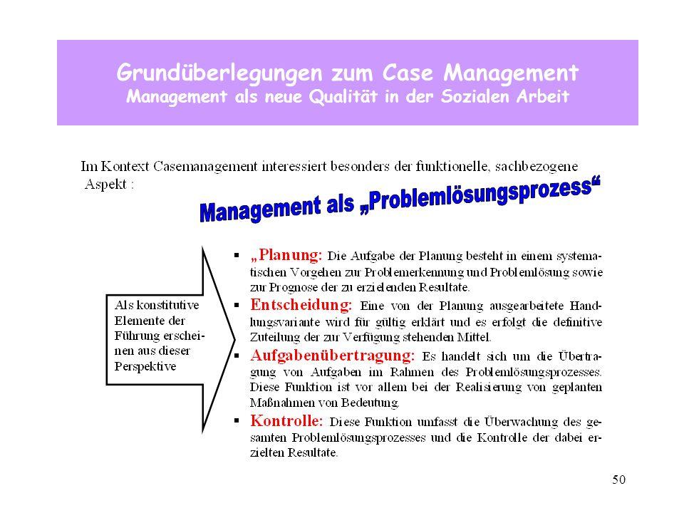 50 Grundüberlegungen zum Case Management Management als neue Qualität in der Sozialen Arbeit
