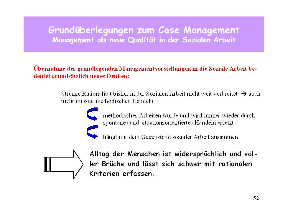 52 Grundüberlegungen zum Case Management Management als neue Qualität in der Sozialen Arbeit