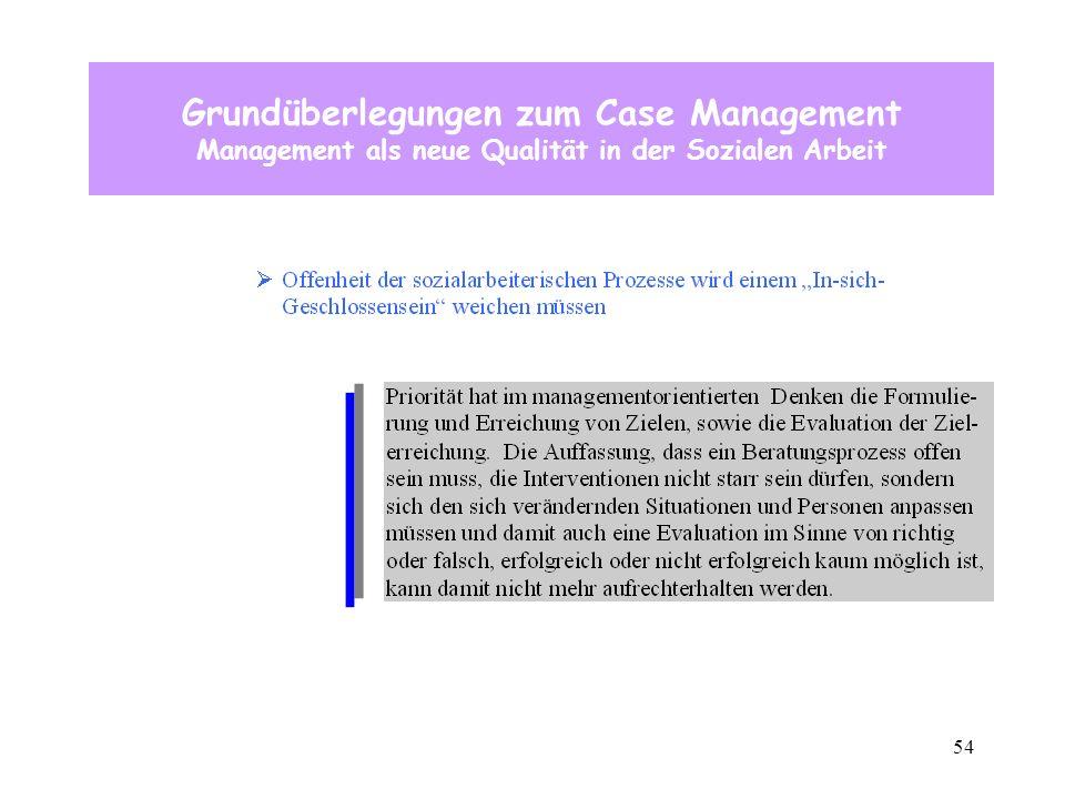 54 Grundüberlegungen zum Case Management Management als neue Qualität in der Sozialen Arbeit