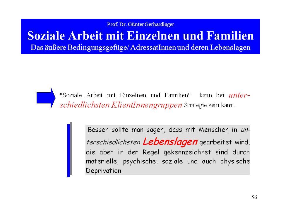 56 Prof. Dr. Günter Gerhardinger Soziale Arbeit mit Einzelnen und Familien Das äußere Bedingungsgefüge/ AdressatInnen und deren Lebenslagen