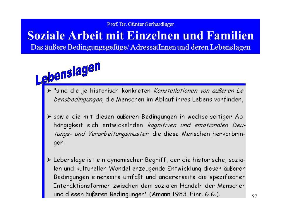 57 Prof. Dr. Günter Gerhardinger Soziale Arbeit mit Einzelnen und Familien Das äußere Bedingungsgefüge/ AdressatInnen und deren Lebenslagen
