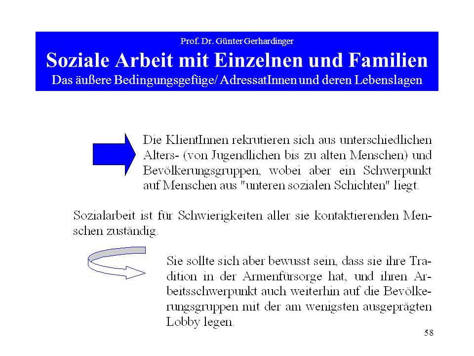 58 Prof. Dr. Günter Gerhardinger Soziale Arbeit mit Einzelnen und Familien Das äußere Bedingungsgefüge/ AdressatInnen und deren Lebenslagen