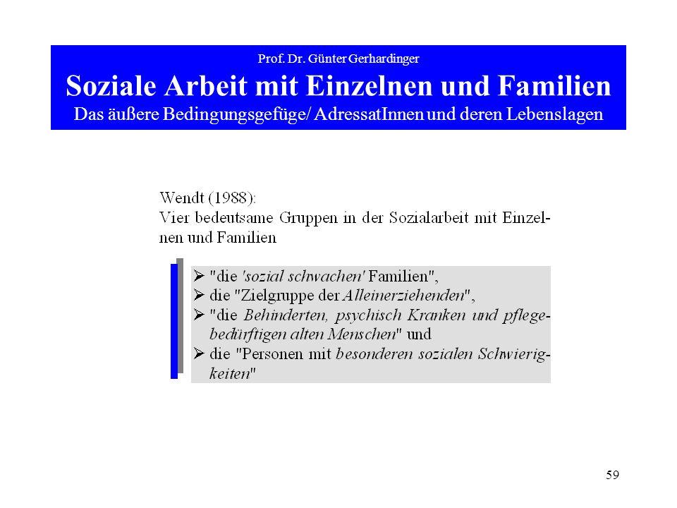 59 Prof. Dr. Günter Gerhardinger Soziale Arbeit mit Einzelnen und Familien Das äußere Bedingungsgefüge/ AdressatInnen und deren Lebenslagen