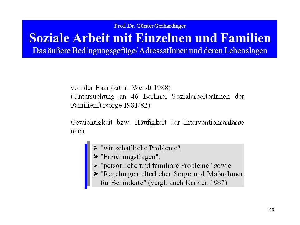 68 Prof. Dr. Günter Gerhardinger Soziale Arbeit mit Einzelnen und Familien Das äußere Bedingungsgefüge/ AdressatInnen und deren Lebenslagen
