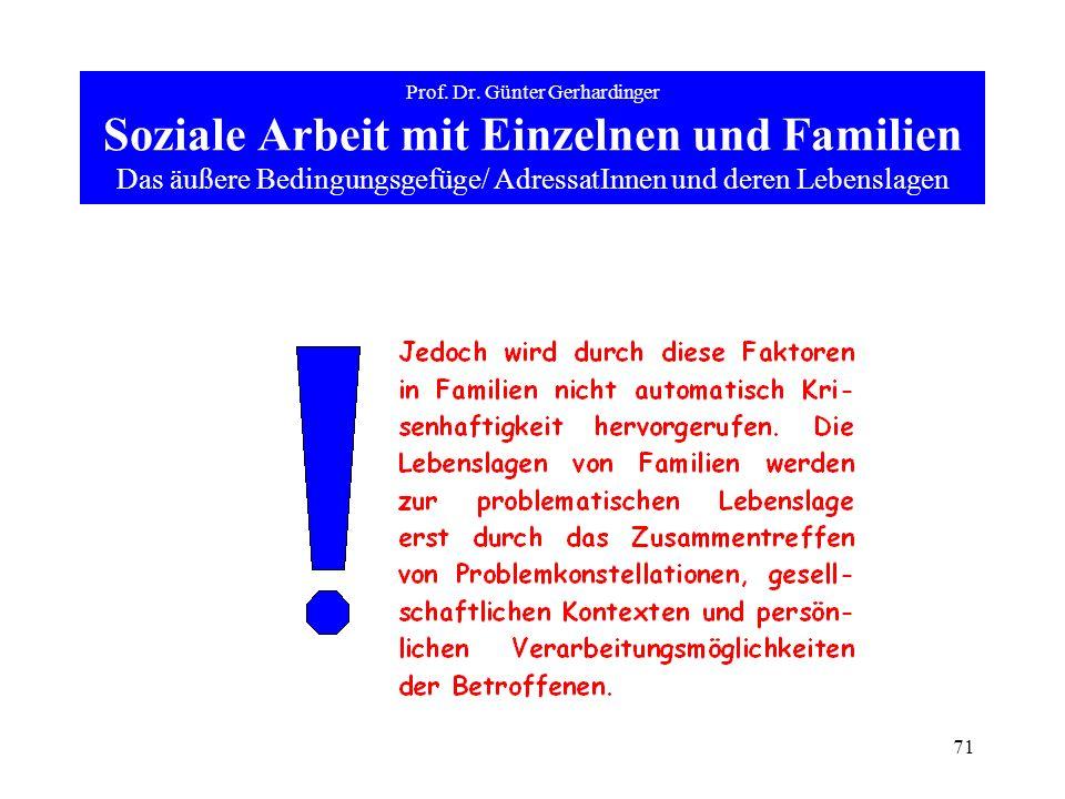 71 Prof. Dr. Günter Gerhardinger Soziale Arbeit mit Einzelnen und Familien Das äußere Bedingungsgefüge/ AdressatInnen und deren Lebenslagen