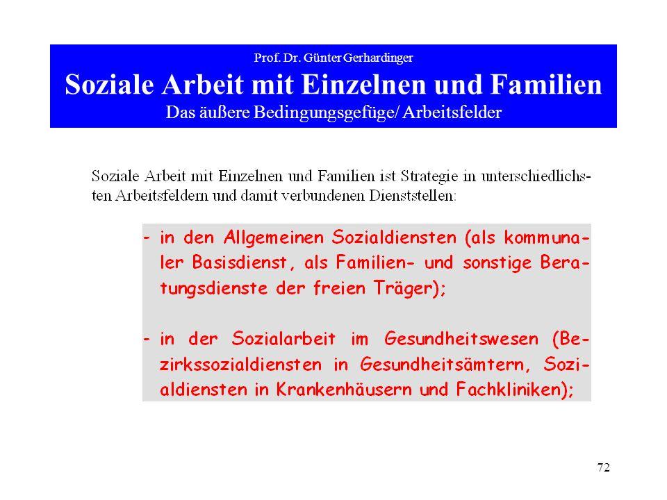 72 Prof. Dr. Günter Gerhardinger Soziale Arbeit mit Einzelnen und Familien Das äußere Bedingungsgefüge/ Arbeitsfelder