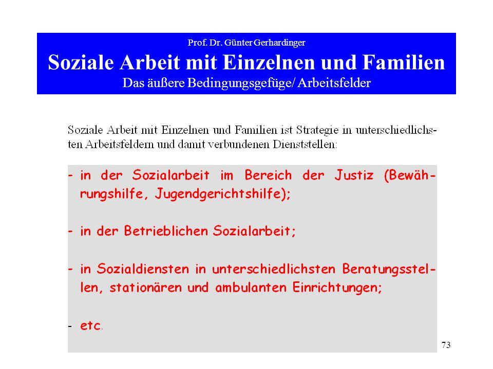 73 Prof. Dr. Günter Gerhardinger Soziale Arbeit mit Einzelnen und Familien Das äußere Bedingungsgefüge/ Arbeitsfelder