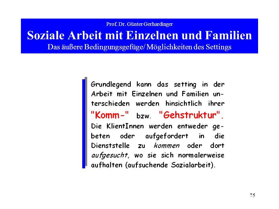 75 Prof. Dr. Günter Gerhardinger Soziale Arbeit mit Einzelnen und Familien Das äußere Bedingungsgefüge/ Möglichkeiten des Settings