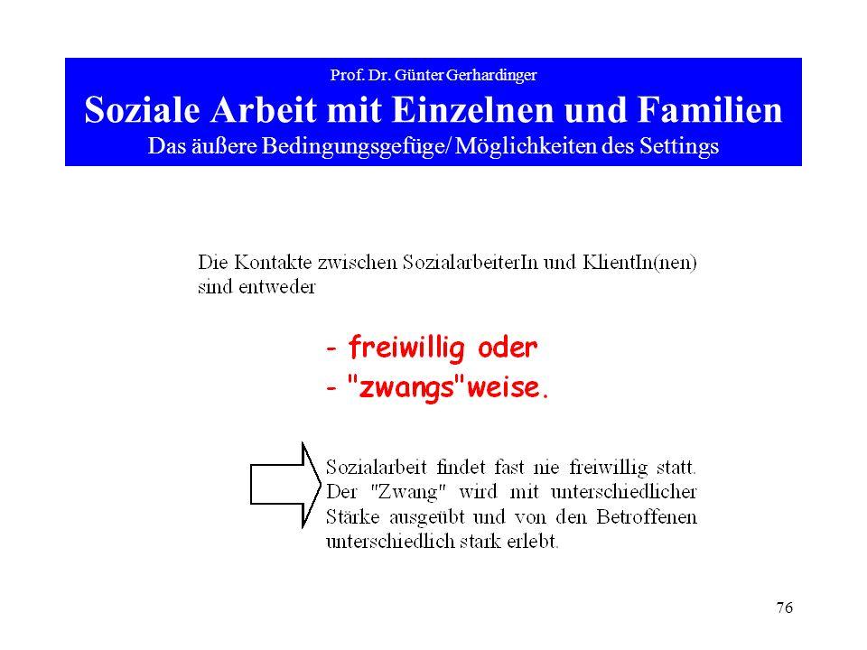 76 Prof. Dr. Günter Gerhardinger Soziale Arbeit mit Einzelnen und Familien Das äußere Bedingungsgefüge/ Möglichkeiten des Settings