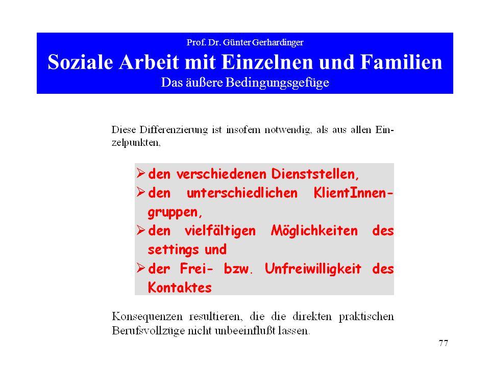 77 Prof. Dr. Günter Gerhardinger Soziale Arbeit mit Einzelnen und Familien Das äußere Bedingungsgefüge