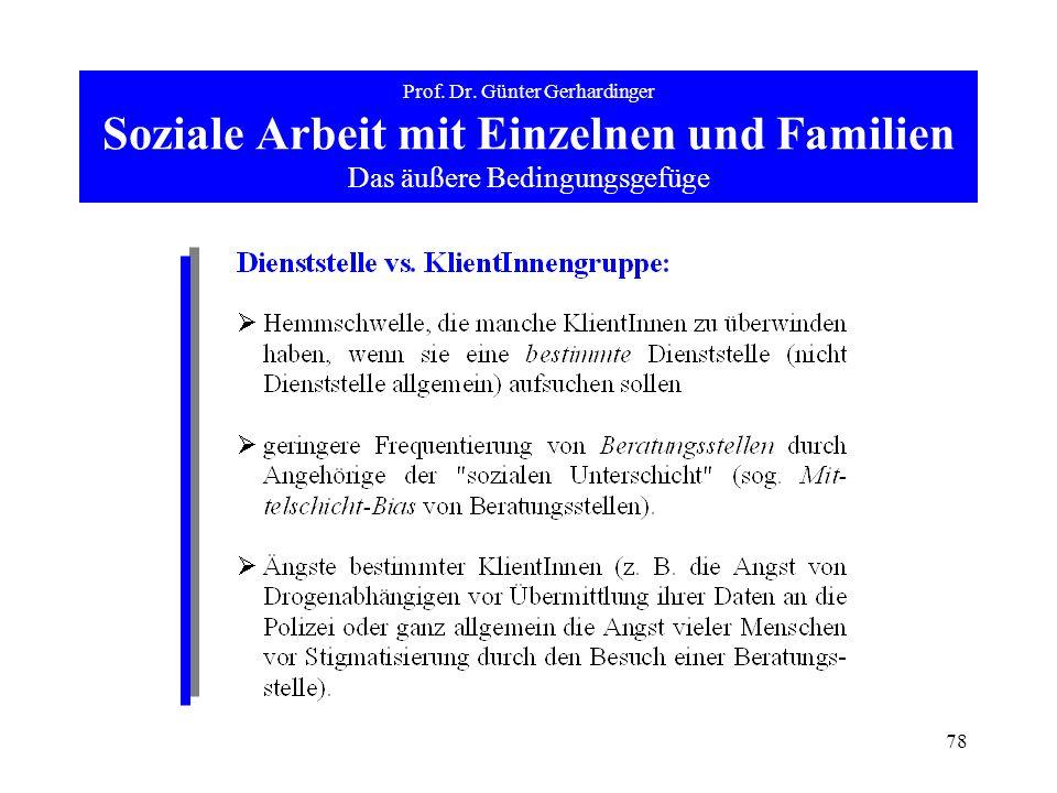 78 Prof. Dr. Günter Gerhardinger Soziale Arbeit mit Einzelnen und Familien Das äußere Bedingungsgefüge