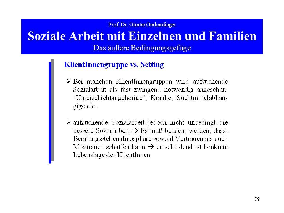 79 Prof. Dr. Günter Gerhardinger Soziale Arbeit mit Einzelnen und Familien Das äußere Bedingungsgefüge