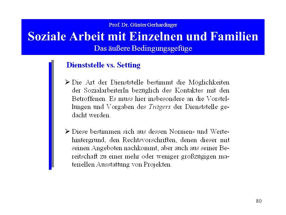 80 Prof. Dr. Günter Gerhardinger Soziale Arbeit mit Einzelnen und Familien Das äußere Bedingungsgefüge