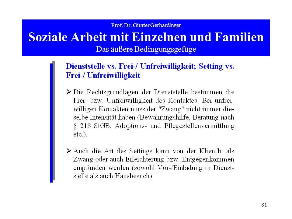 81 Prof. Dr. Günter Gerhardinger Soziale Arbeit mit Einzelnen und Familien Das äußere Bedingungsgefüge