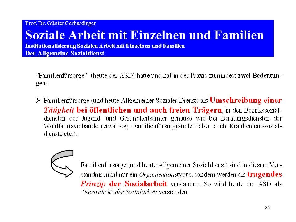 87 Prof. Dr. Günter Gerhardinger Soziale Arbeit mit Einzelnen und Familien Institutionalisierung Sozialen Arbeit mit Einzelnen und Familien Der Allgem