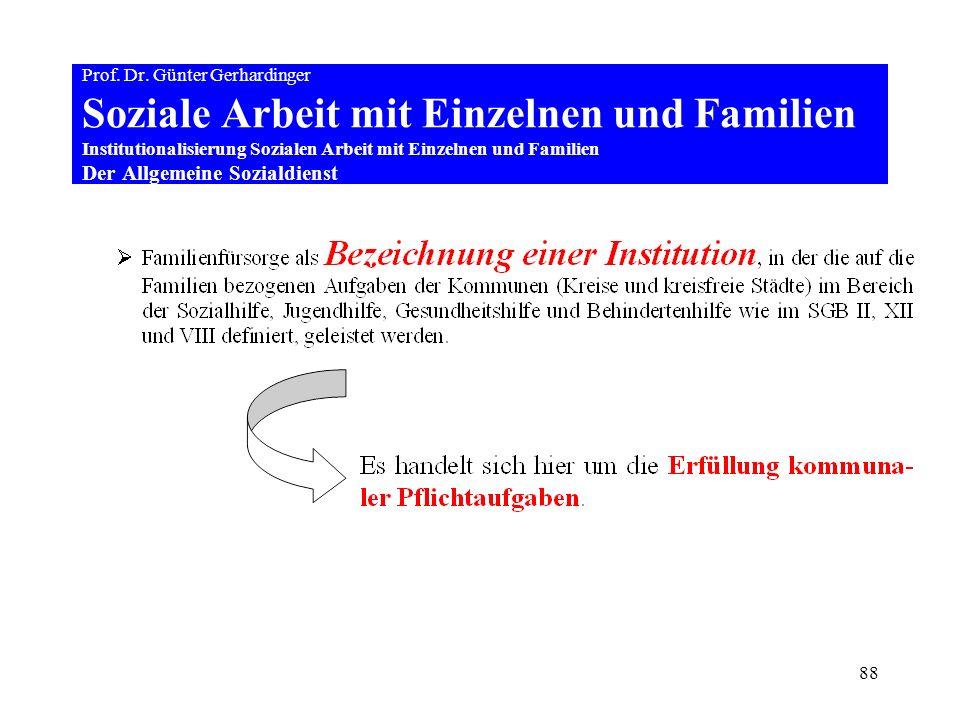 88 Prof. Dr. Günter Gerhardinger Soziale Arbeit mit Einzelnen und Familien Institutionalisierung Sozialen Arbeit mit Einzelnen und Familien Der Allgem