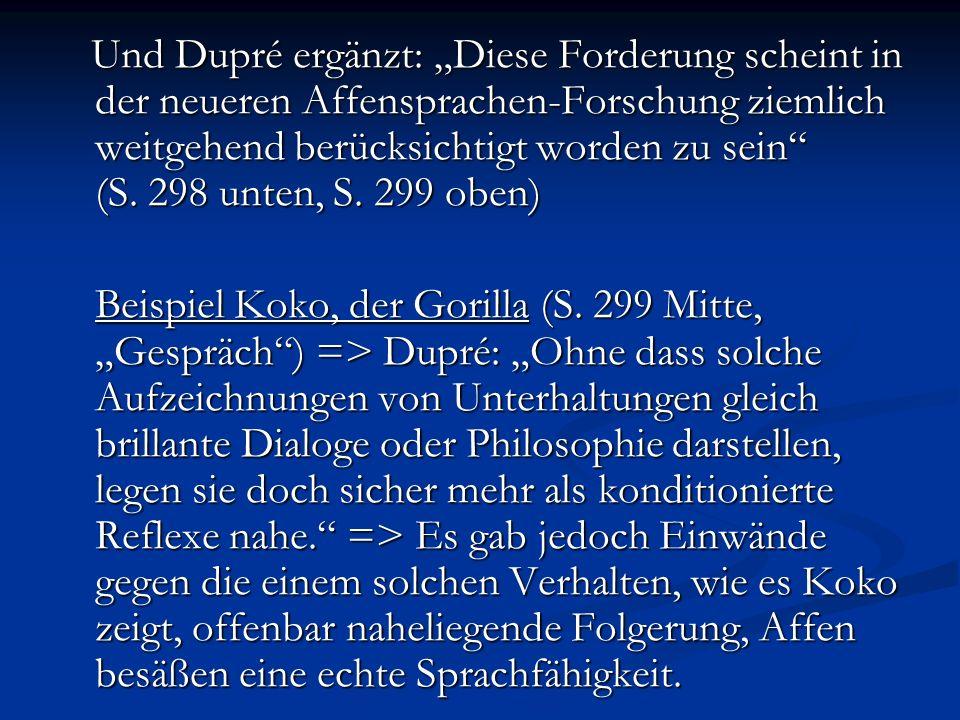 Zu Punkt 2.Kritik an der Affensprachen-Forschung Zu Punkt 2.
