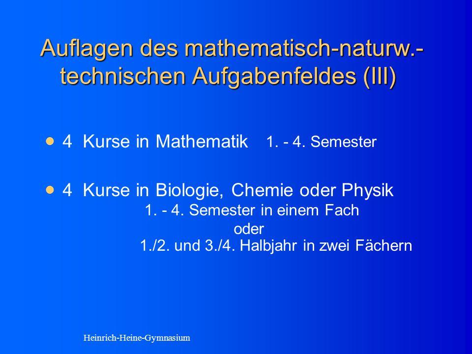 Auflagen des mathematisch-naturw.- technischen Aufgabenfeldes (III) 4 Kurse in Mathematik 1.