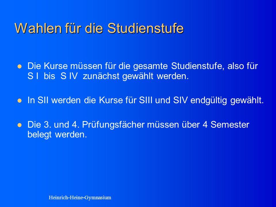 Wahlen für die Studienstufe Die Kurse müssen für die gesamte Studienstufe, also für S I bis S IV zunächst gewählt werden.