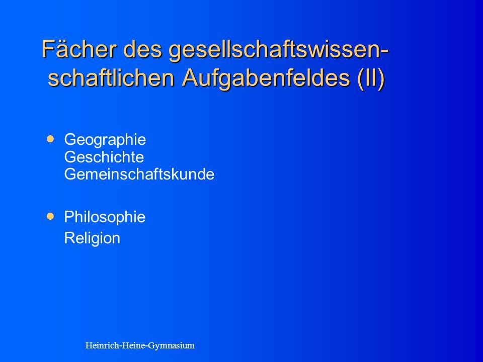 Fächer des gesellschaftswissen- schaftlichen Aufgabenfeldes (II) Geographie Geschichte Gemeinschaftskunde Philosophie Religion Heinrich-Heine-Gymnasium