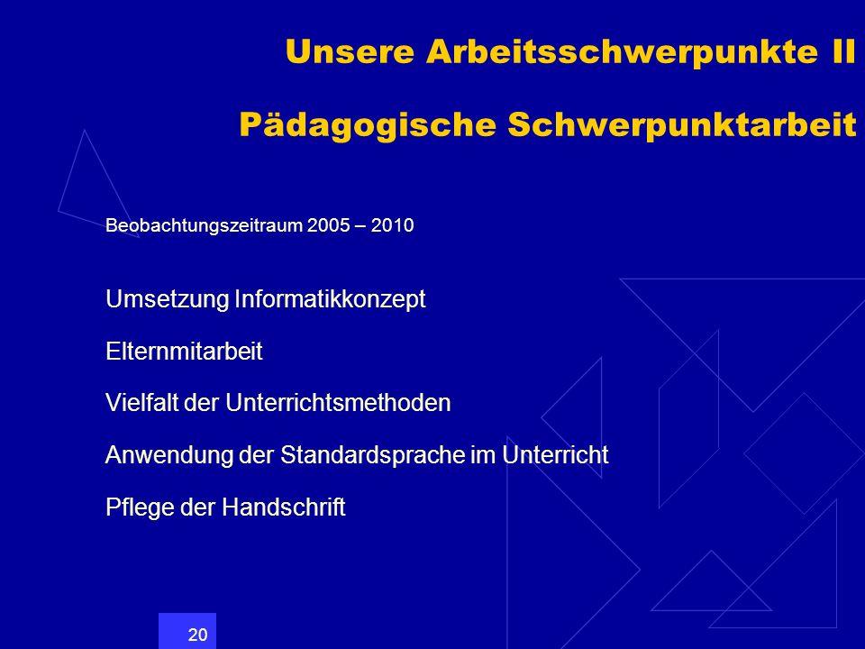 20 Unsere Arbeitsschwerpunkte II Pädagogische Schwerpunktarbeit Beobachtungszeitraum 2005 – 2010 Umsetzung Informatikkonzept Elternmitarbeit Vielfalt