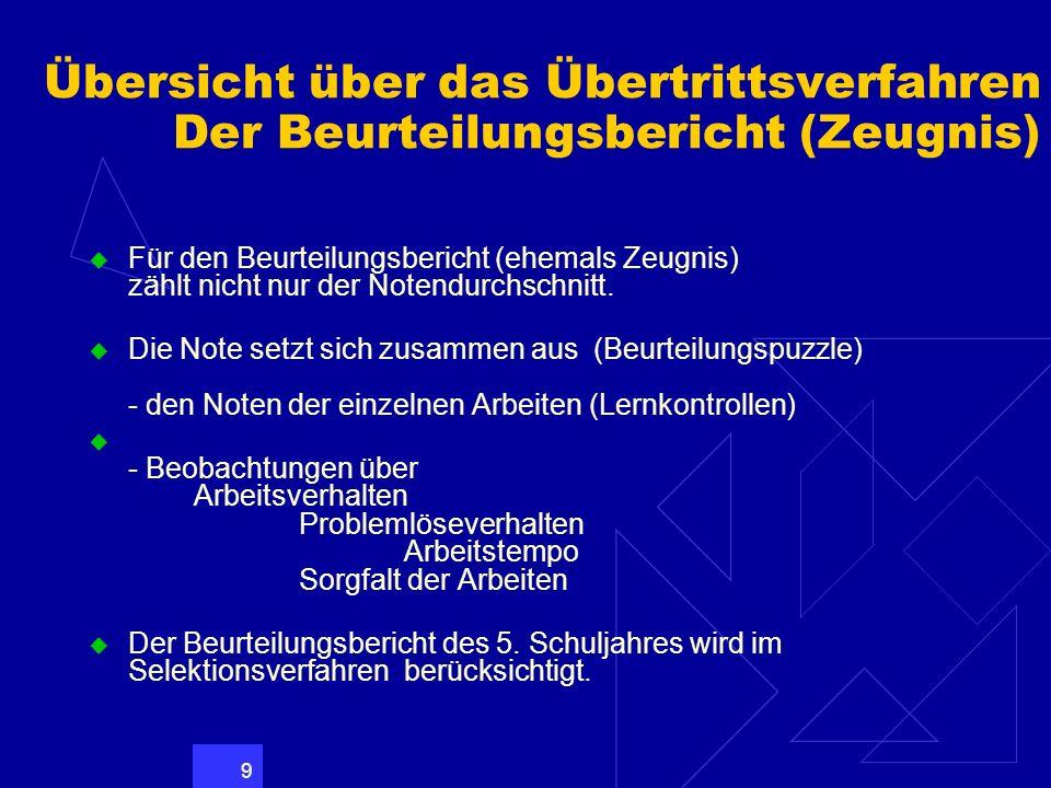9 Übersicht über das Übertrittsverfahren Der Beurteilungsbericht (Zeugnis) Für den Beurteilungsbericht (ehemals Zeugnis) zählt nicht nur der Notendurc